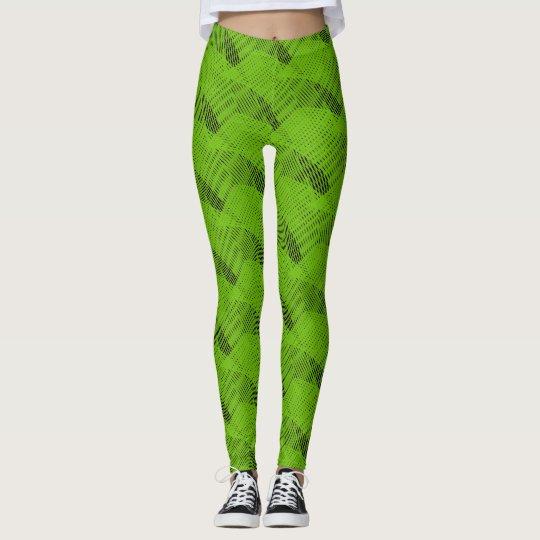 De abstracte Groene Moderne Zwarte van Lijnen Leggings