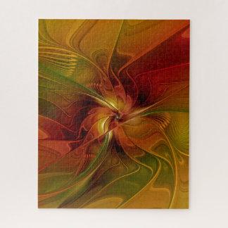 De abstracte Rode Oranje Bruine Groene Fractal Puzzel