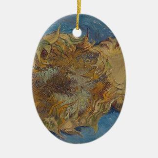 De achtergrond van de zonnebloem keramisch ovaal ornament
