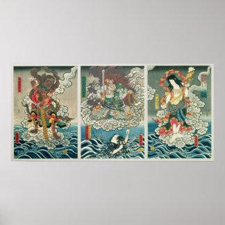 De acteur Ichikawa Ebizo V als deity Fudo Myoo Poster