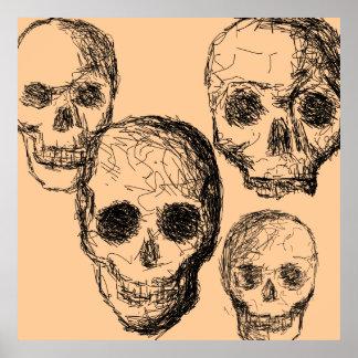 De Affiche van vier Schedels Poster