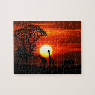 De Afrikaanse Dierlijke Silhouetten van de Puzzel