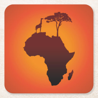 De Afrikaanse Kaart van de Safari - het Vierkante Onderzetter