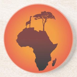De Afrikaanse Kaart van de Safari - het Zandsteen Onderzetter