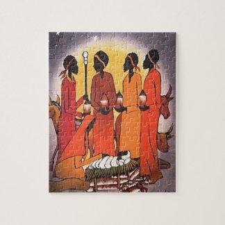 De Afrikaanse Scène van de Geboorte van Christus Foto Puzzels
