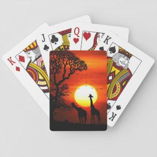 De Afrikaanse Silhouetten van de Giraf van de Pokerkaarten