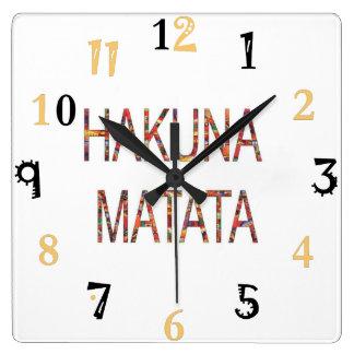 De Afrikaanse Vintage grote gift van Hakuna Matata Vierkante Klok