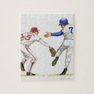 De agent en de veldspeler van het honkbal bij een puzzel