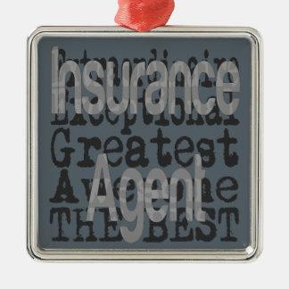 De Agent Extraordinaire van de verzekering Zilverkleurig Vierkant Ornament