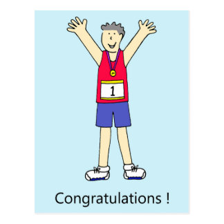 De agent mannelijke gelukwensen van de marathon briefkaart