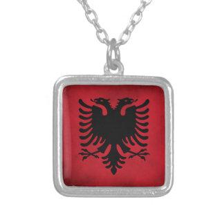 De Albanese Vlag van Grunge [Hoogte - kwaliteit] Zilver Vergulden Ketting