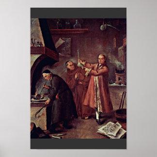 De alchimist door Longhi Pietro (Beste Kwaliteit) Poster