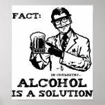 De alcohol is een Oplossing in Retro Chemie Posters