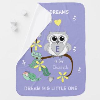 De Algemene Droom van het paarse Baby van de Uil Kinderwagen Dekentjes