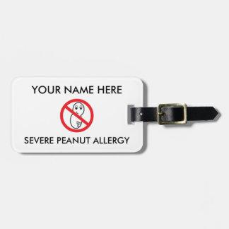 De Allergie ID/ICE van de pinda Kofferlabel