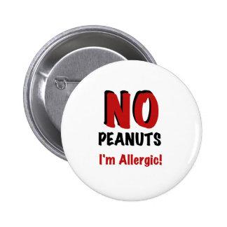 De Allergie van de pinda Ronde Button 5,7 Cm