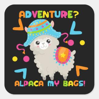 De Alpaca van het avontuur Mijn Leuke Grappig van Vierkante Sticker