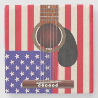 De Amerikaanse Gitaar van de Vlag Stenen Onderzetter