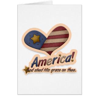 De Amerikaanse God wierp Zijn Gunst op Notitiekaart