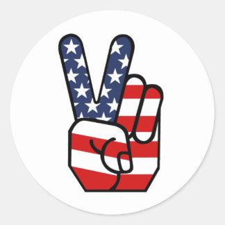 De Amerikaanse Hand van de Vrede van de Vlag Ronde Sticker