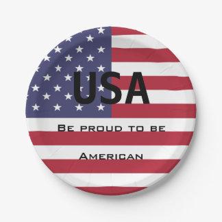 De Amerikaanse Sjabloon van de Vlag Papieren Bordje
