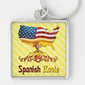 De Amerikaanse Spaanse Sleutelring van Wortels Zilverkleurige Vierkante Sleutelhanger