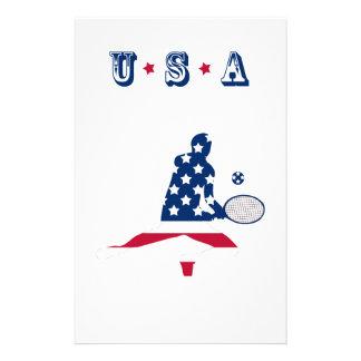 De Amerikaanse speler van het Tennis van de V.S. Briefpapier