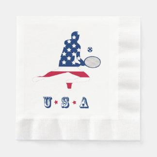De Amerikaanse speler van het Tennis van de V.S. Papieren Servetten