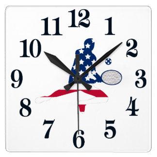 De Amerikaanse speler van het Tennis van de V.S. Vierkante Klok