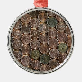 De Amerikaanse Textuur van de Pence van Lincoln Zilverkleurig Rond Ornament