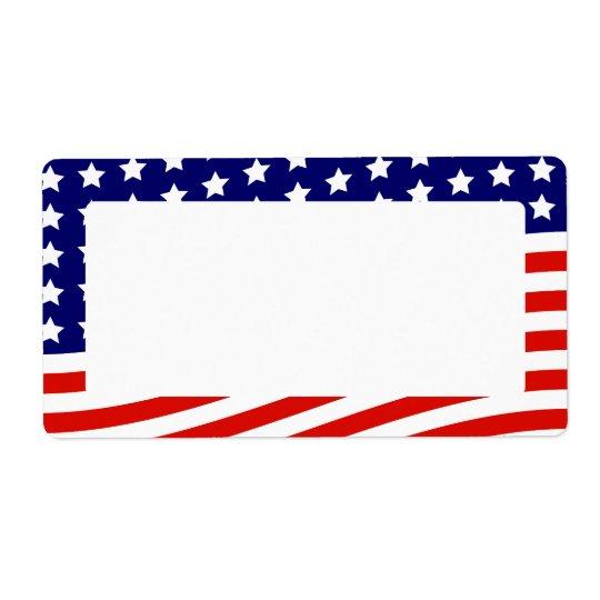 De Amerikaanse Vlag 4 van sterren en van Strepen Verzendlabel