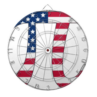 De Amerikaanse vlag van de Dag van pi, pisymbool Dartbord