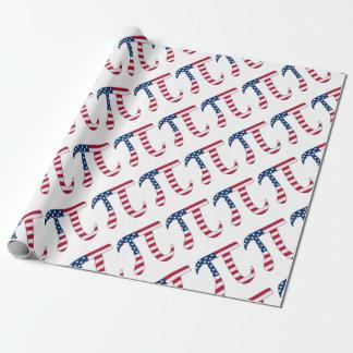 De Amerikaanse vlag van de Dag van pi, pisymbool Inpakpapier