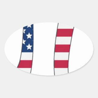 De Amerikaanse vlag van de Dag van pi, pisymbool Ovaalvormige Stickers