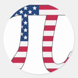 De Amerikaanse vlag van de Dag van pi, pisymbool Ronde Stickers