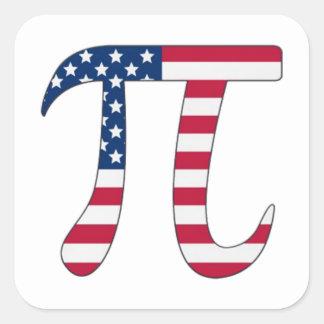 De Amerikaanse vlag van de Dag van pi, pisymbool Vierkant Sticker