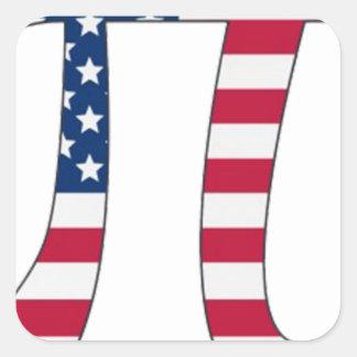De Amerikaanse vlag van de Dag van pi, pisymbool Vierkant Stickers