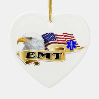 De Amerikaanse Vlag van Eagle van de Trots EMT Keramisch Hart Ornament