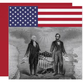 De Amerikaanse Vlag van George Washington Abraham 13,3x13,3 Vierkante Uitnodiging Kaart