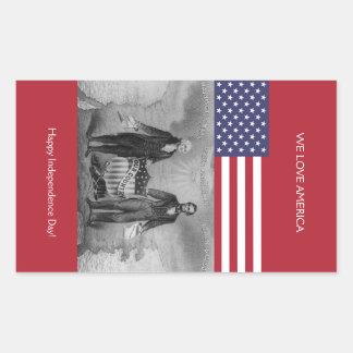 De Amerikaanse Vlag van George Washington Abraham Rechthoekvormige Stickers
