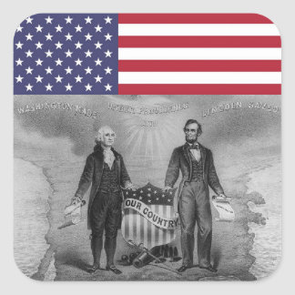 De Amerikaanse Vlag van George Washington Abraham Vierkante Sticker
