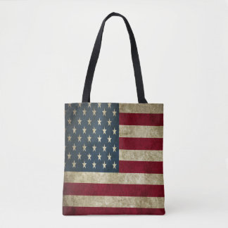 De Amerikaanse Vlag van Grunge helemaal over - het Draagtas