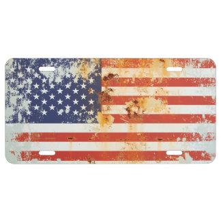 De Amerikaanse Vlag van het Metaal van Grunge 3a Nummerplaat