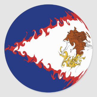 De Amerikaanse Vlag van Samoa Gnarly Ronde Sticker