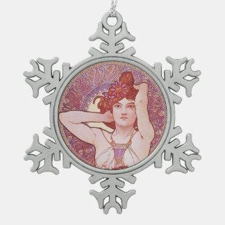 De Amethyst Jugendstil van Alphonse Mucha Tin Sneeuwvlok Ornament