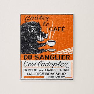 De antiek Belgische Adverterene Beer van de Koffie Foto Puzzels