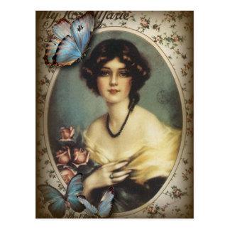 De antiek BloemenDame van Parijs van de mode van Briefkaart