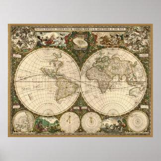 De antiek Kaart van 1660 Wereld door Frederick DE Poster