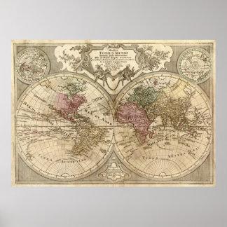 De antiek Kaart van 1690 Wereld door Guillaume de Poster