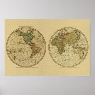 De antiek Kaart van 1786 Wereld door William Faden Poster